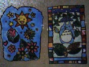左が娘の太陽と花、右が私のトトロ