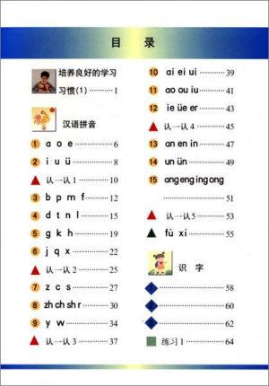 上海の語文教科書・小学1年前期・目次1